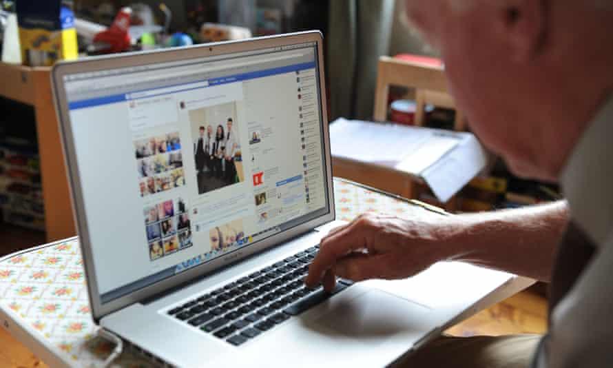 Older man using internet