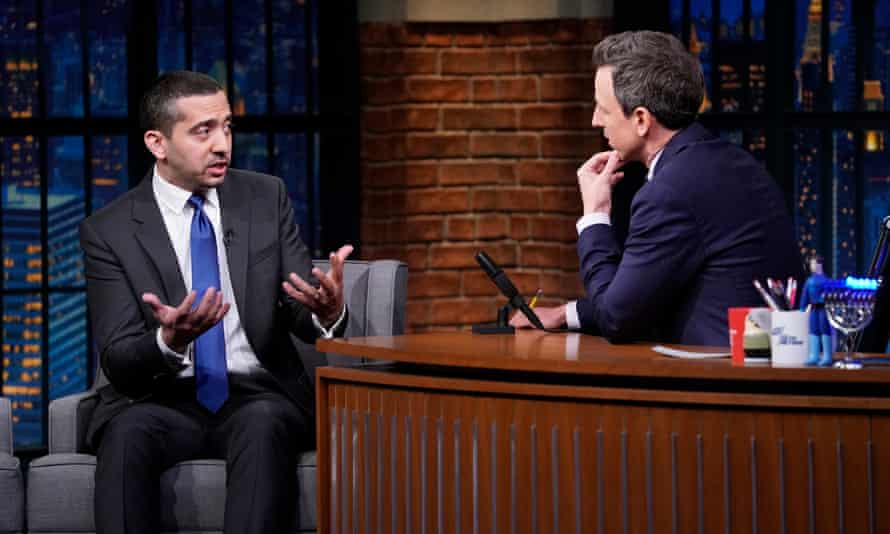 Mehdi Hasan being interviewed on Late Night with Seth Meyers in 2018