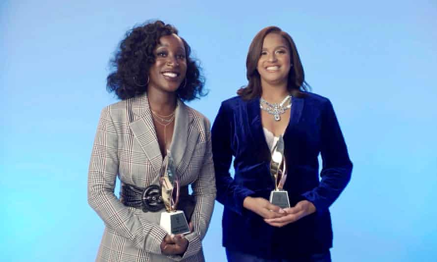 (L-R) Brianna Agyemang and Jamila Thomas accept the executives of the year award during the Billboard Women in Music event, 10 December 2020.