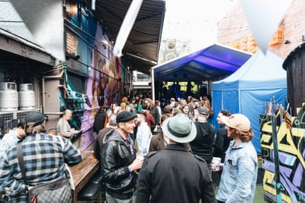 The crowd at Guardian Australia's Songs of Brisbane launch party, held at Ric's Big Backyard in Fortitude Valley