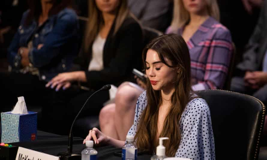 McKayla Maroney, a US Olympic gymnast, testifies before the Senate during a hearing on Wednesday.