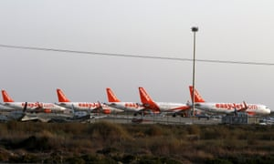 Easyjet planes at Larnaca airport in Cyprus wait to fly to Egypt to return British tourists to the UK.