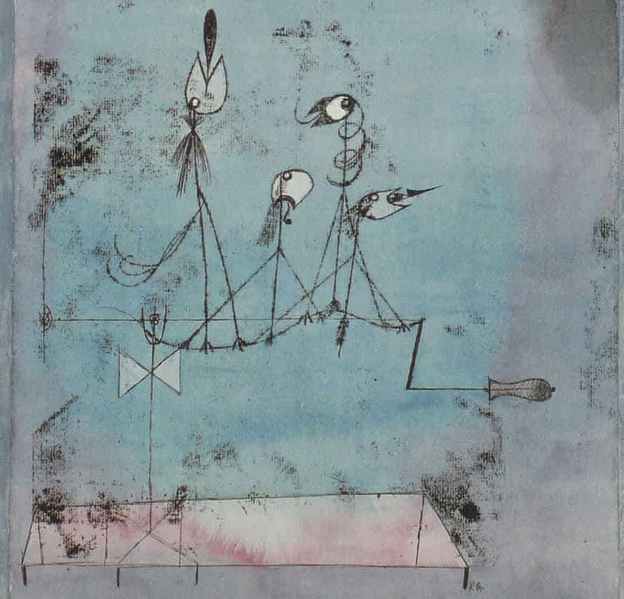 Part of Paul Klee's Twittering Machine,  depicting mechanical birds whose song is manufactured to lure victims towards a pit.