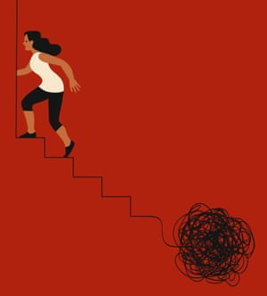 Illustration of a woman running upstairs away from a ball of black string