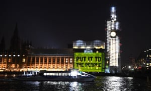 Brexit<br>A projection on the Houses of Parliament in Westminster, London, calling for a People's Vote. PRESS ASSOCIATION Photo. Picture date: Wednesday February 27, 2019. See PA story POLITICS Brexit. Photo credit should read: Victoria Jones/PA Wire