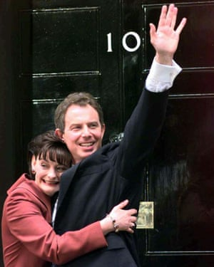 Britain's newly elected prime minister Tony Blair, with his wife Cherie, outside No 10 Downing Street on 2 May 1997.