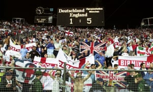 England fans celebrate the emphatic victory over Germany in September 2001