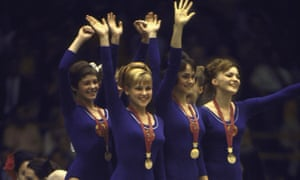The victorious USSR women's gymnastics team on the podium at the Mexico Olympics in October 1968