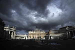 Clouds hang over St Peter's Basilica at the Vatican