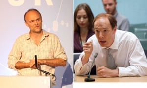 Vote Leave director Dominic Cummings, left, and Benedict Cumberbatch playing him in Brexit: An Uncivil War, right.