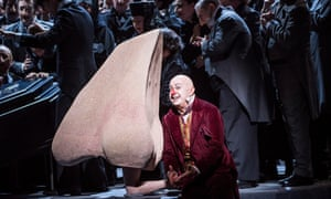 'The nose alternated between a literal-size prop and an impressive costume' – Ilan Galkoff as the Nose on stage with Martin Winkler.