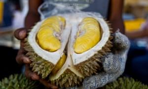 a durian fruit cut open