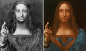 Salvator Mundi in its original state as discovered before restoration, and after.