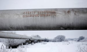A sign warning against walking along the West Siberian Pipeline near Ivano-Frankvisk, Ukraine, which is a key route for Russia's energy exports to Europe.