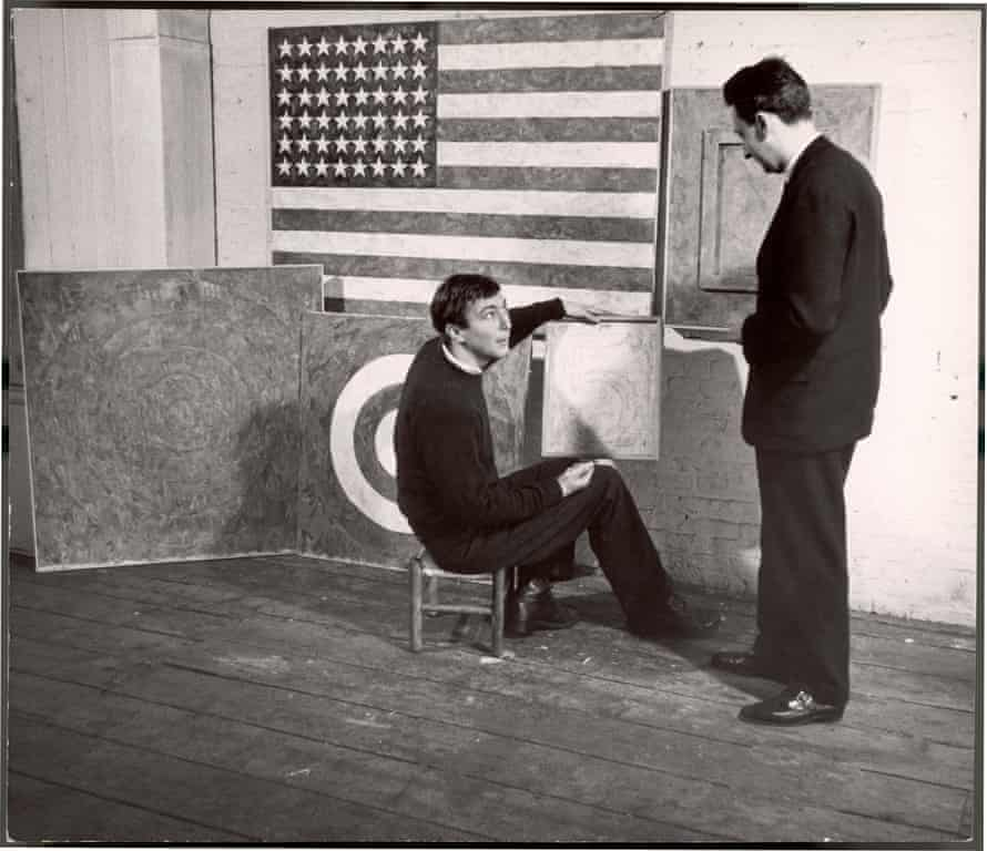 Jasper Johns working on Flag, 1958.