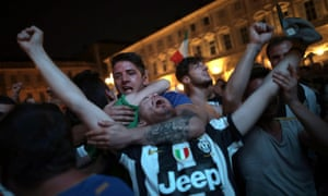 Over in Piazza San Carlo in Turin, the Juve fans celebrate.