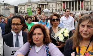 Members of the public attend a memorial event for murdered Labour MP Jo Cox at Trafalger Square.