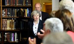 Theresa May arrives at her leadership bid press conference.