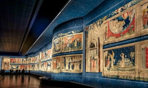 Tapestries in the gallery of Apocalypse, Angers castel, Maine et Loire department, Pays de la Loire, France
