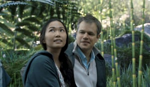 In this image released by Paramount Pictures, Hong Chau as Ngoc Lan with Matt Damon in Downsizing