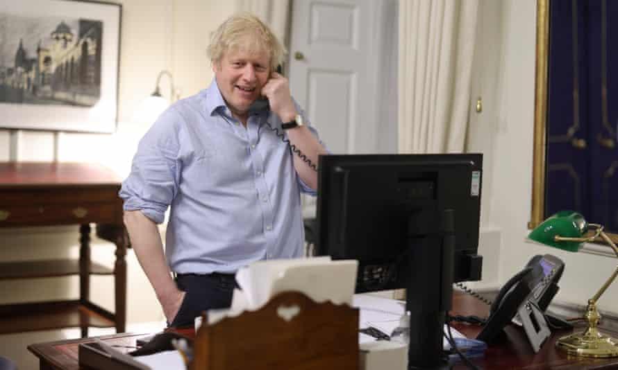 Boris Johnson speaking to new US president Joe Biden from his office inside No 10 Downing Street.