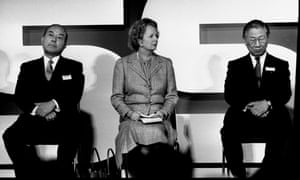Margaret Thatcher at the opening of Nissan's Washington plant in 1986.