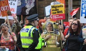 Protesters outside the venue in West Yorkshire where May launched her party's 2017 general election manifesto.