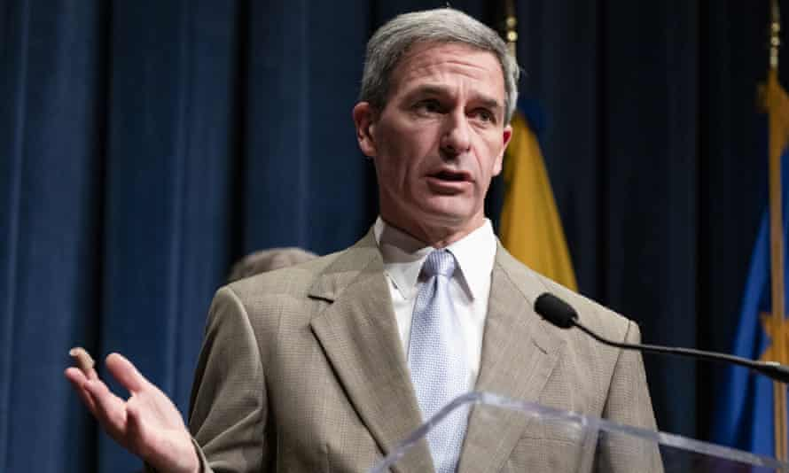 Ken Cuccinelli speaks during a press conference in Washington DC, on 7 February.