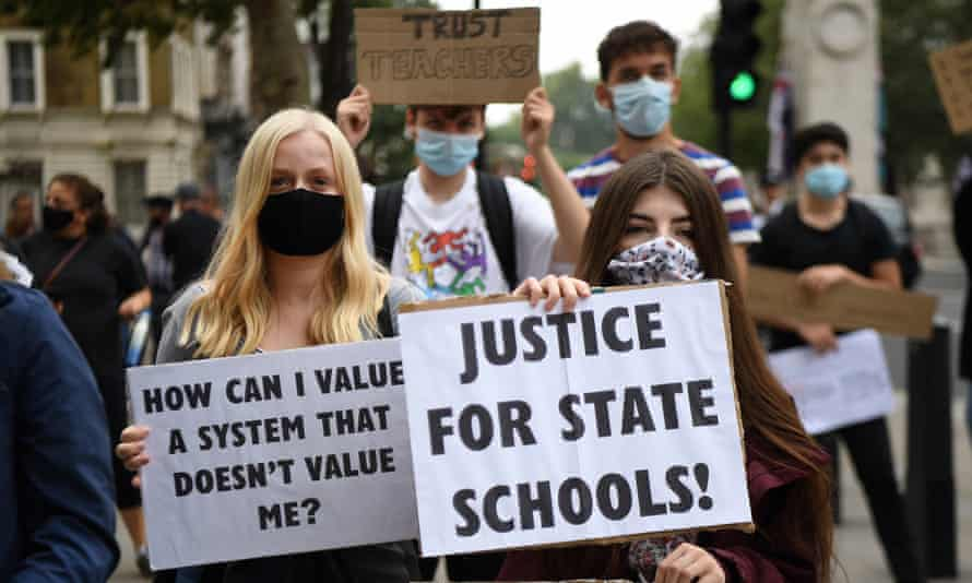 Students protest outside 10 Downing Street in London against the downgrading of A-levels results.