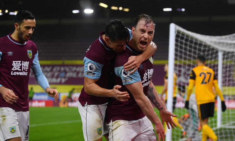 Ashley Barnes celebrates after opening the scoring for Burnley.
