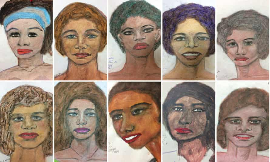 Recent drawings by suspect Samuel Little based on his memories of some of his female victims from various locations spread across the US.