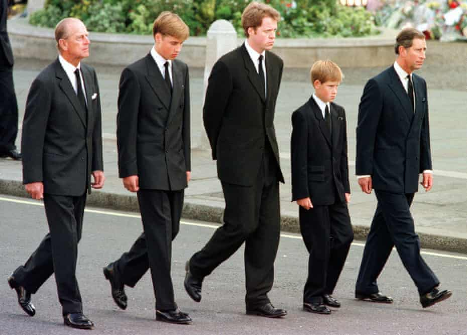 The Duke of Edinburgh, left, with Prince William, Earl Spencer, Prince Harry and the Prince of Wales at the funeral of Diana, Princess of Wales, 1997.