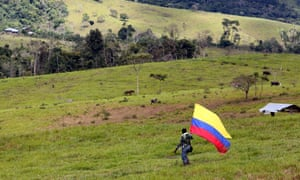 A man holding a Colombian flag walks in Meta, Colombia. 'The Farc would limit logging to two hectares a year in the municipality,' says the mayor of a town in the province.