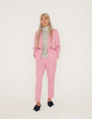 pink jacket and trousers both Topshop, grey roll neck Cos, black pointed shoes with bows River Island