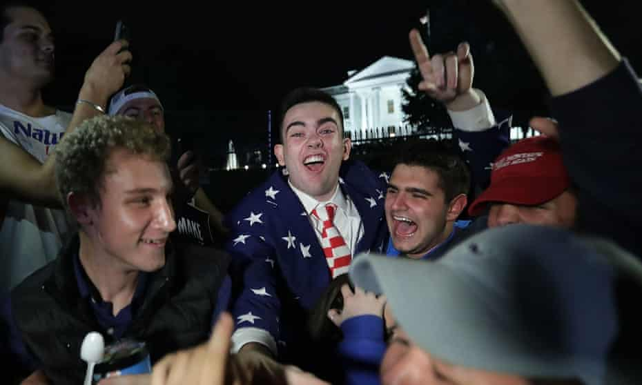Trump supporters celebrate in front of the White House.