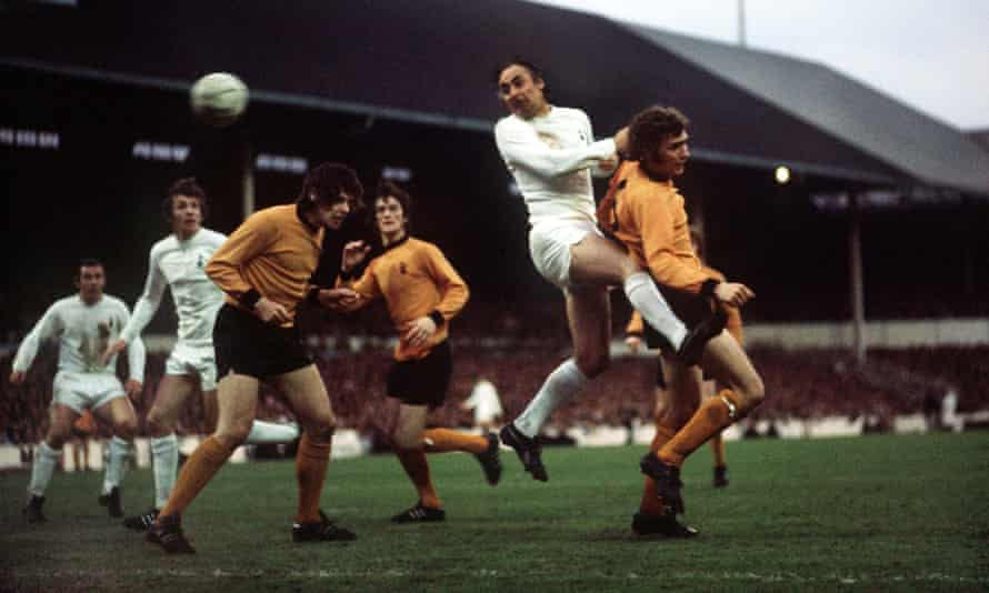 Alan Gilzean heads the ball for Tottenham Hotspur in the 1972 Uefa Cup final, second leg, against Wolverhampton Wanderers at White Hart Lane, which ended in a 1-1 draw.