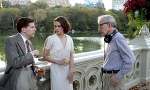 Stewart and Jesse Eisenberg with director Woody Allen on the set of his new film, Cafe Society