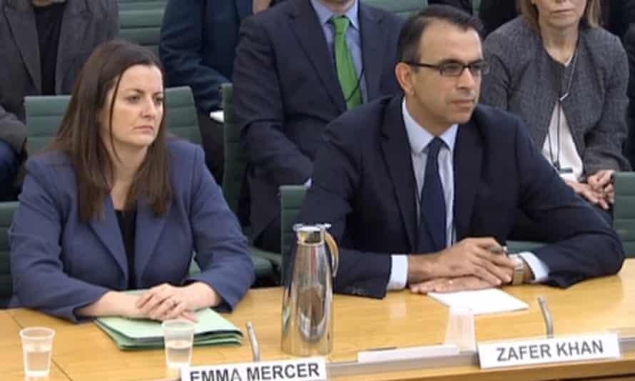Former Carillion executives Emma Mercer and Zafer Khan