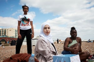(From left) Ebada Hassan, Zeinab Lamah and Danielle Tcheugoue, on a day trip to Brighton from London