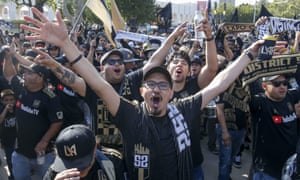 Los Angeles FC march outside their stadium prior to an MLS game against the Seattle Sounders in April.