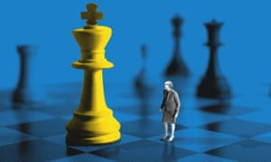 Graphic showing Theresa May on a chess board