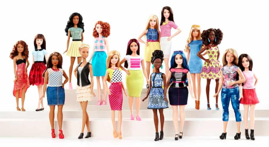 The full range of Barbie's Fashionistas.