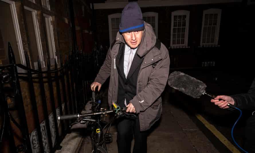 Boris Johnson leaving Jacob Rees-Mogg's party on Tuesday night