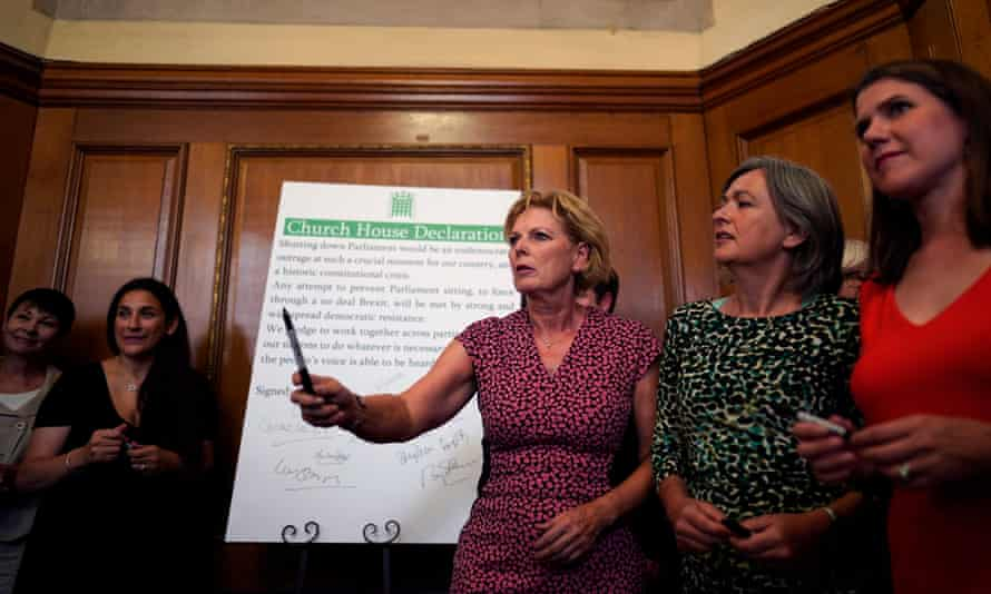 MPs sign a declaration to form an alternative parliament at Church House in Westminster