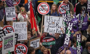 Public sector workers take part in the 'Britain Needs a Pay Rise' march in London, calling for an end to austerity and to highlight the need for pay to increase following days of industrial action by nurses, midwives and civil servants.