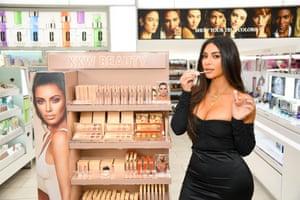 Kardashian West promoting her new makeup range.