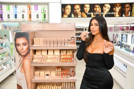 Kardashian West promoting her new makeup range.