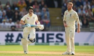 Steve Smith celebrates reaching his century in the first innings of the Edgbaston Test off the bowling of Ben Stokes.