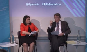 Bronwen Maddox, the IfG director, and Lord Mandelson.