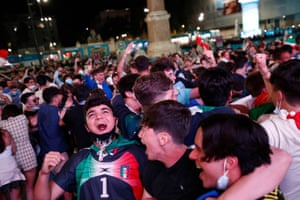 Italy fans celebrate after Turkey's Merih Demiral scored an own goal and and Italy's first goal.
